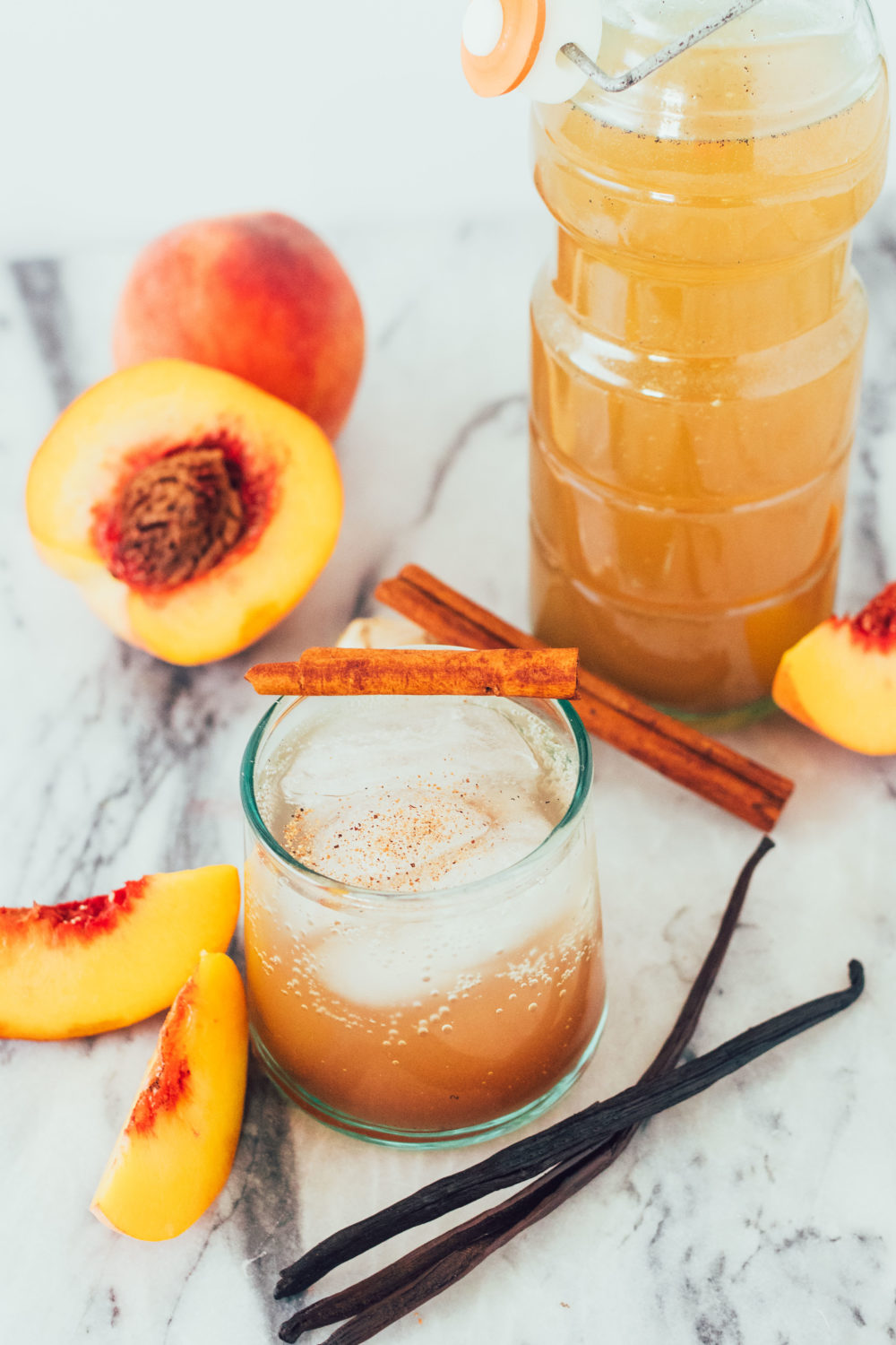 Spiced Peach Drinking Vinegar. An easy, probiotic DIY recipe that's paleo, healthy, gluten-free, dairy-free, whole30