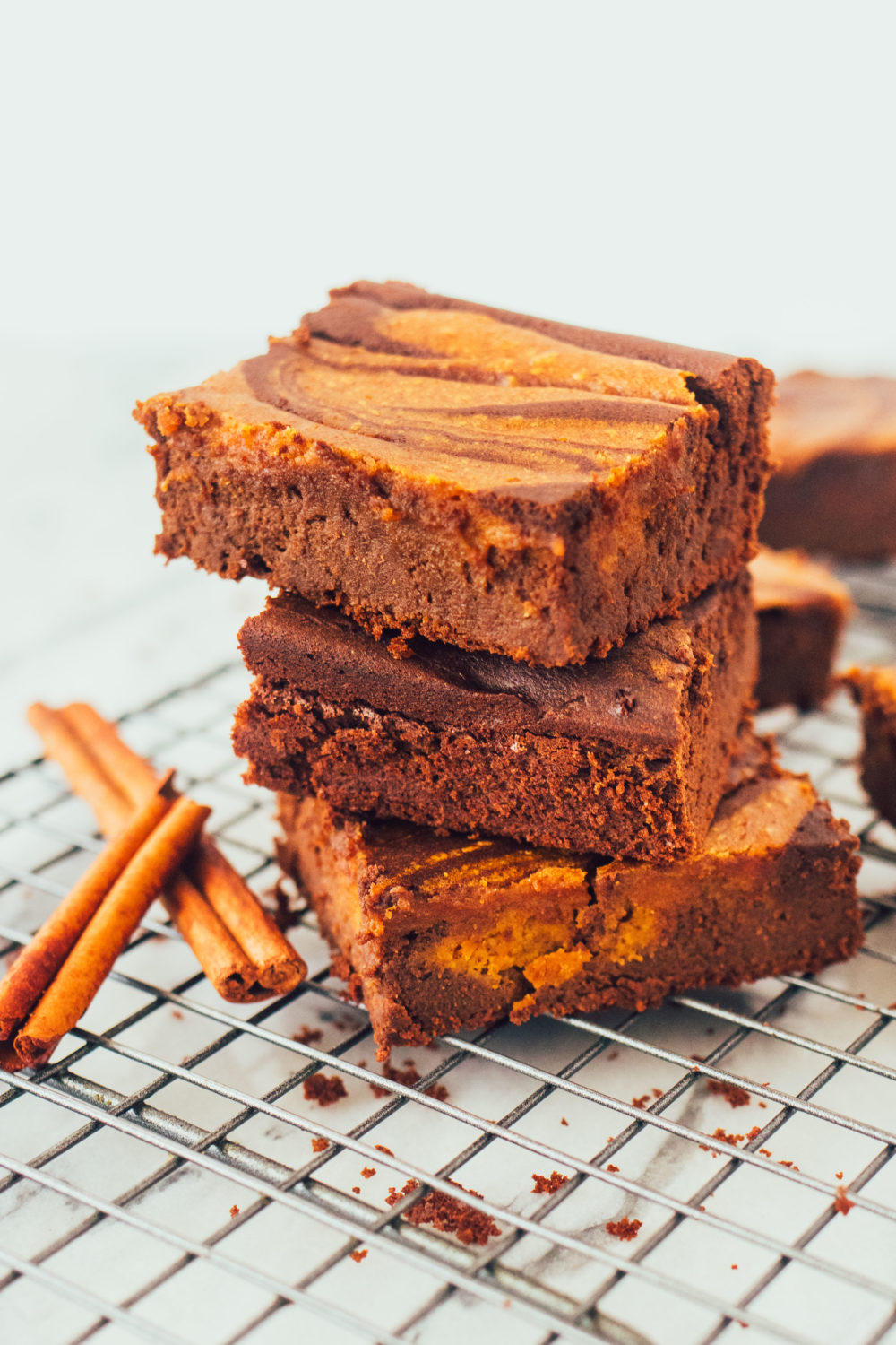 Flourless Pumpkin Swirl Brownies. A great paleo, healthy, gluten-free, dairy-free dessert recipe.