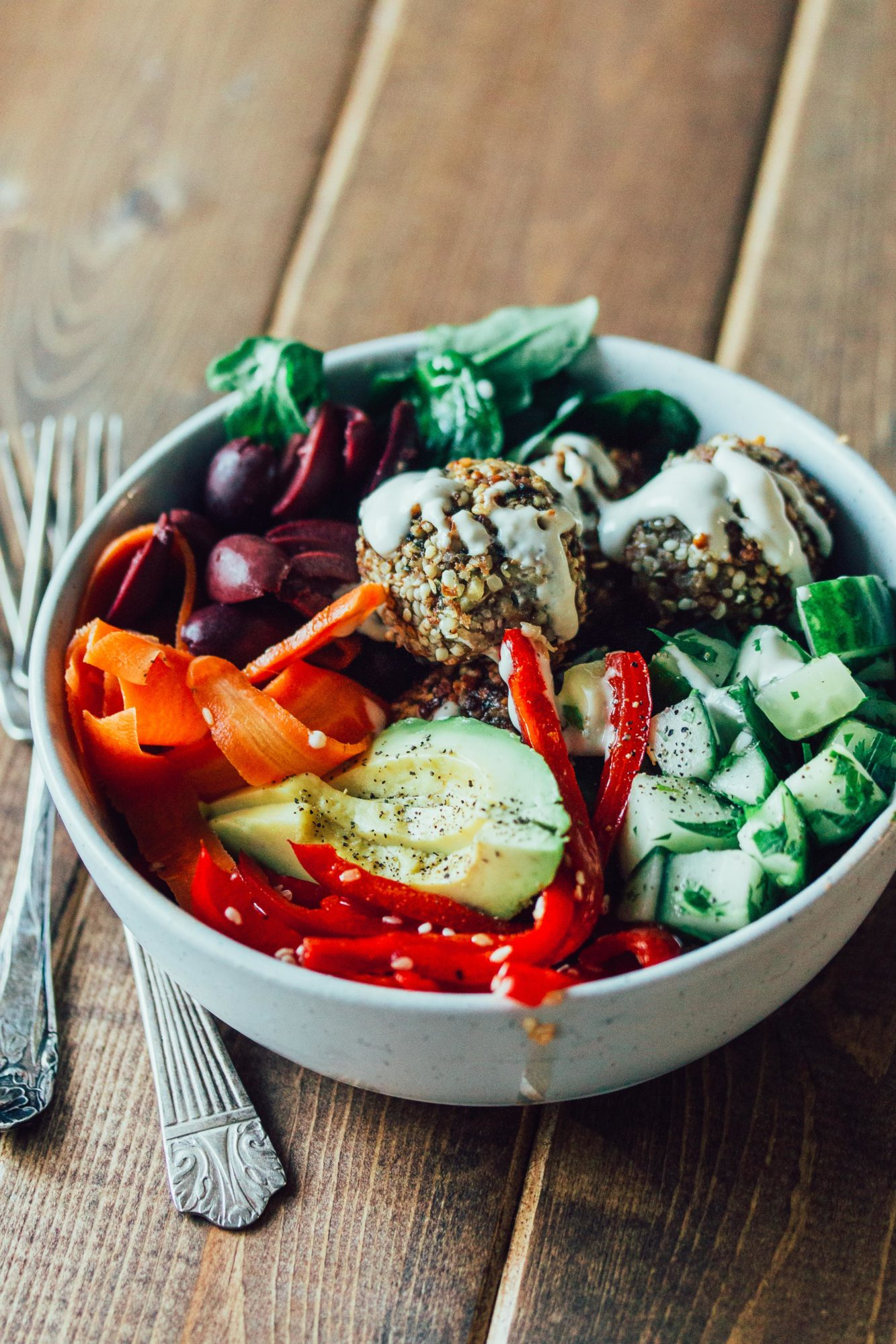 Paleo Falafel Bowl with Tahini Dressing, a great paleo, healthy, gluten-free, dairy-free, whole30 recipe.